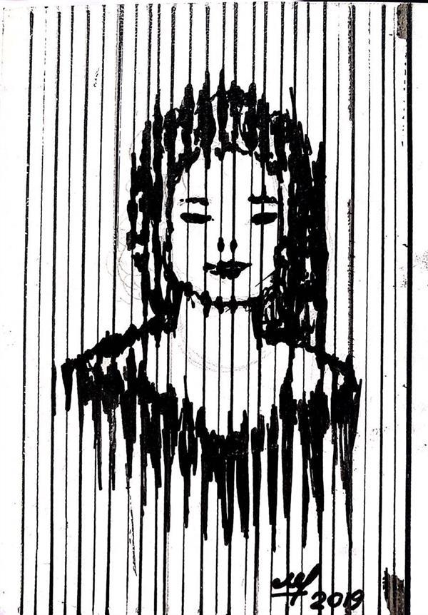 هنر نقاشی و گرافیک محفل نقاشی و گرافیک مهسا فرامرزی کار با راپید#ترکیب با خطوط عمودی# ۱۰*۱۰