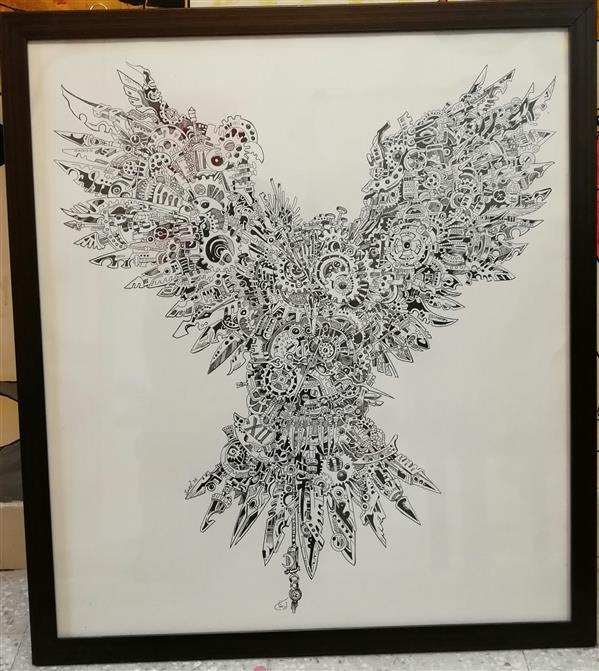 هنر نقاشی و گرافیک محفل نقاشی و گرافیک ارمغان طراحی#سوررئال#راپید سایز65*70 همراه با قاب تلفیق هنر با صنعت