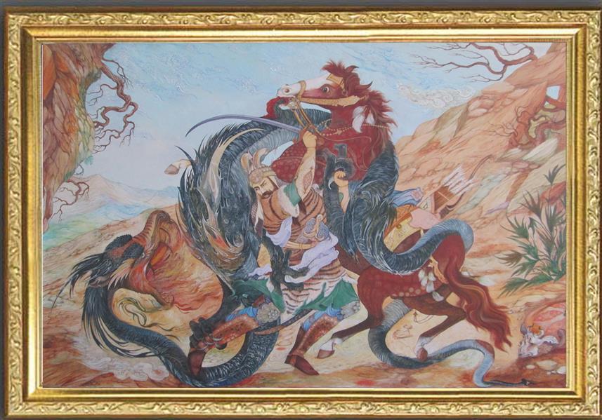 هنر نقاشی و گرافیک محفل نقاشی و گرافیک اکبر خیری مینیاتور کار شده با رنگ گواش روی کاغذ فابریانو ثابت شده روی پارچه برای ماندگاری و کیفیت بهتر اثر  اجرا در سال 1399 اکتباس شده از  استاد محمود فرشیان