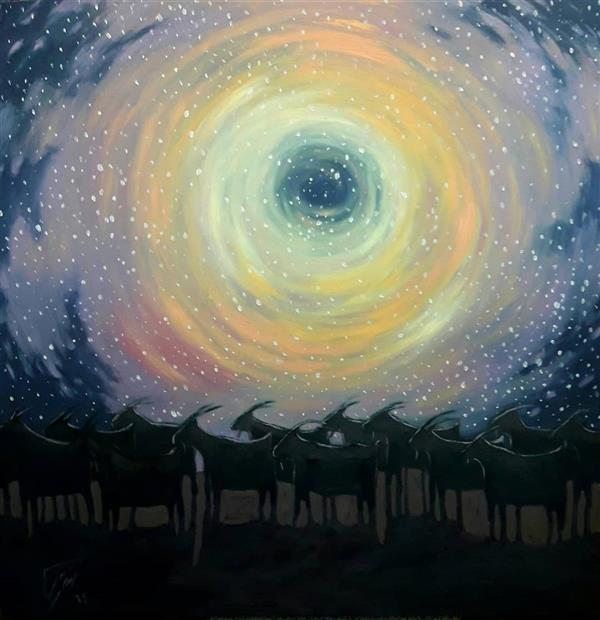 هنر نقاشی و گرافیک محفل نقاشی و گرافیک رحمان احمدی ملکی #عنوان: سورگون(کوچ گروهی) #رنگ و روغن #هنرمند: رحمان احمدی ملکی