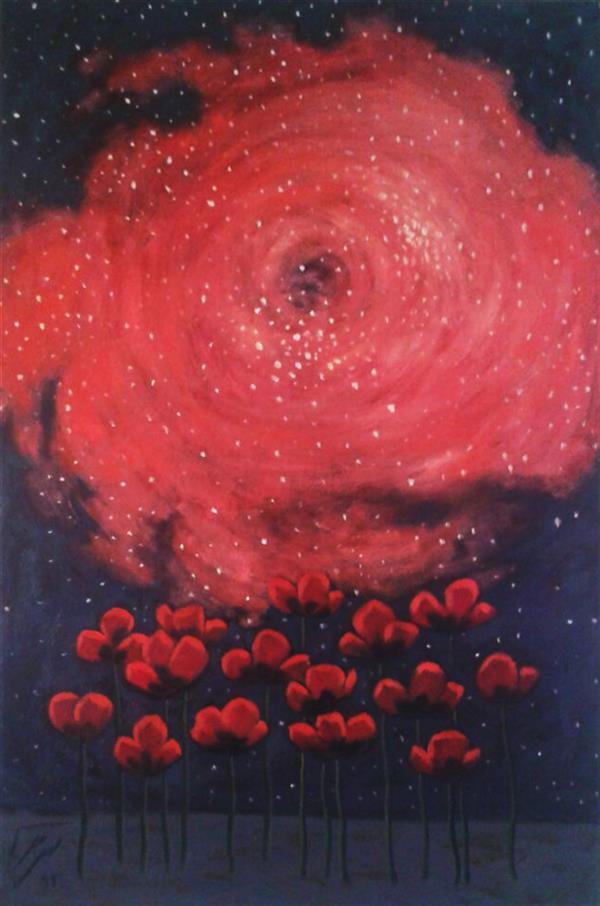 هنر نقاشی و گرافیک محفل نقاشی و گرافیک رحمان احمدی ملکی #عنوان: شراره ها و شقایق ها(از مجموعه کهکشان عشق) #رنگ و روغن روی بوم #هنرمند: رحمان احمدی ملکی
