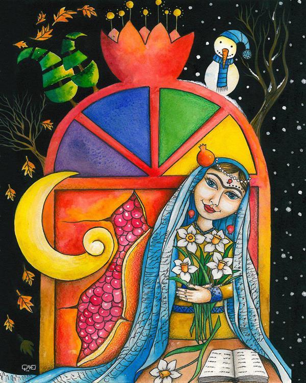 هنر نقاشی و گرافیک محفل نقاشی و گرافیک مریم شفیعی مقدم نام اثر#شب_یلدا #یلدا