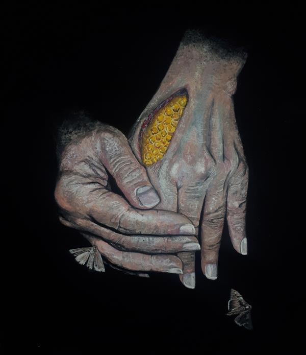 هنر نقاشی و گرافیک محفل نقاشی و گرافیک میترا خیری Hive hands #گواش روی مقوا #آکریلیک #سورئال #رئال تلفیق همراه با شاسی  سایز ۲۲×۲۰