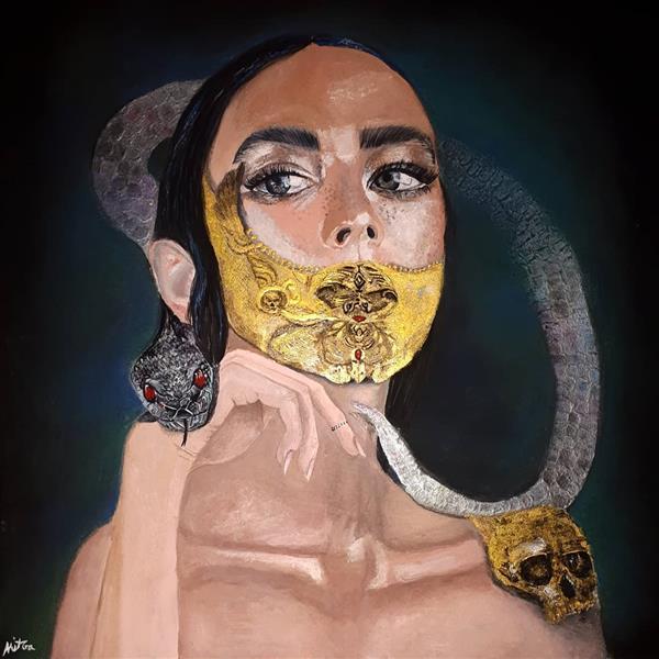 هنر نقاشی و گرافیک محفل نقاشی و گرافیک میترا خیری Macaria الهه ی مرگ تکنیک #گواش #آکریلیک #پاستل سایز ۳۵×۳۵ همراه با قاب