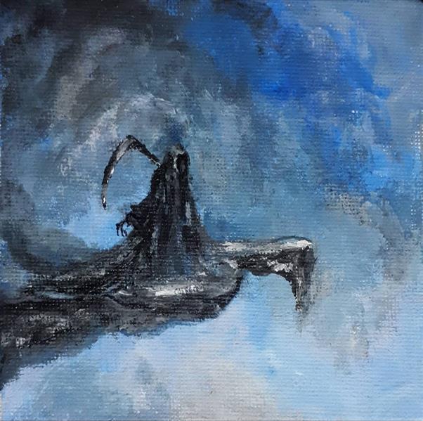 هنر نقاشی و گرافیک محفل نقاشی و گرافیک میترا خیری Angel of death تکنیک #آکریلیک روی #بوم ۱۰×۱۰ #سورئال #فانتزی