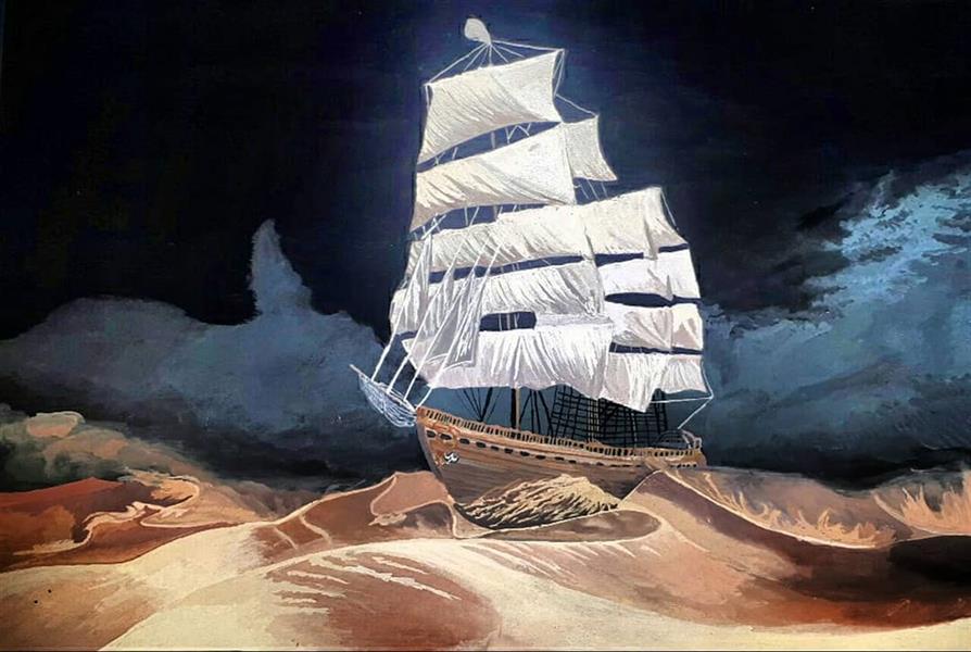 هنر نقاشی و گرافیک محفل نقاشی و گرافیک میترا خیری #کشتی در بیابان تکنیک #گواش رو #مقوا سایز A3
