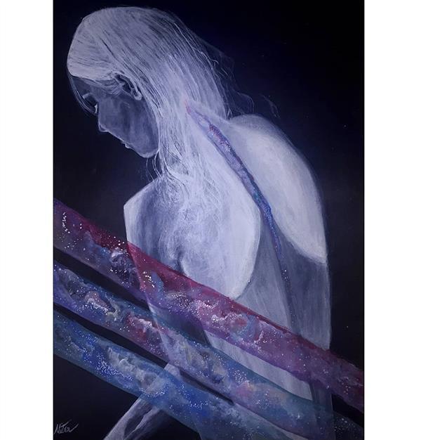 هنر نقاشی و گرافیک محفل نقاشی و گرافیک میترا خیری Galaxy spine ستون فقرات کهکشانی تکنیک #آکریلیک و #گواش سایز A3