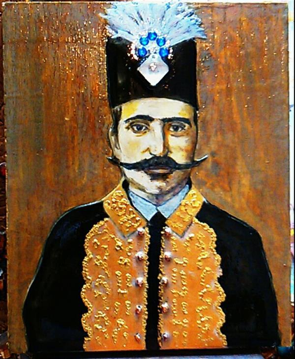 هنر نقاشی و گرافیک محفل نقاشی و گرافیک مهرنوش کمالی #نماکاشی #خمیرپتینه #ناصرالدین_شاه ابعاد۲۵*۲۰