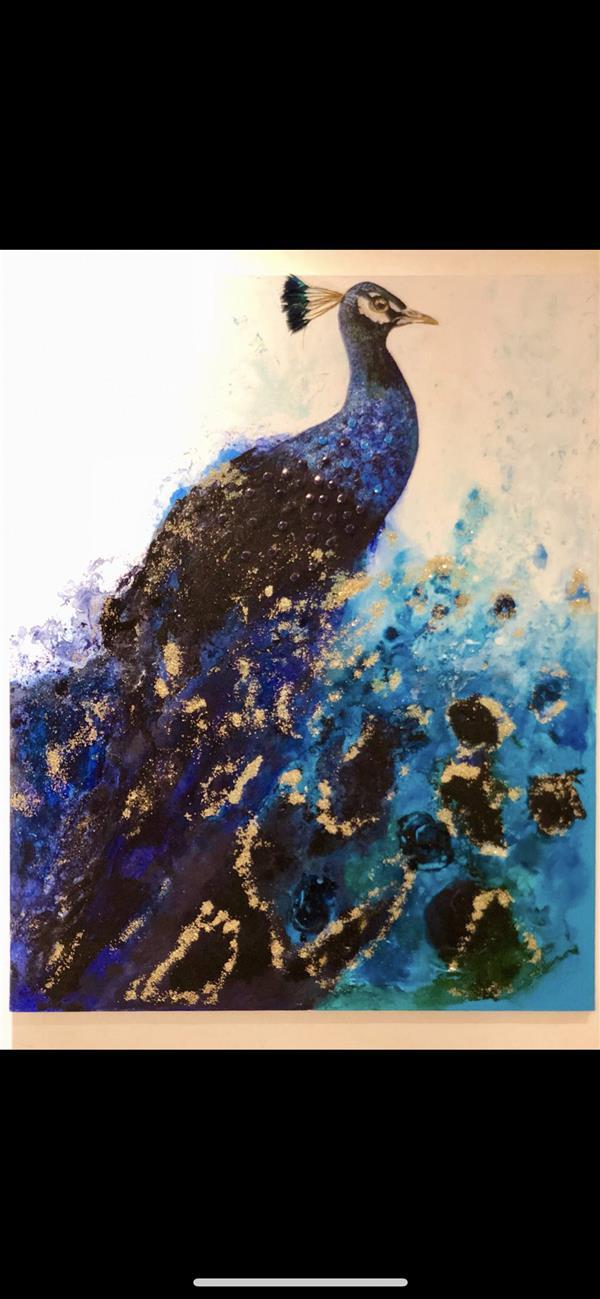 هنر نقاشی و گرافیک محفل نقاشی و گرافیک Marzipainting #طاووس#آبستره و رنگ روغن#نگین برجسته
