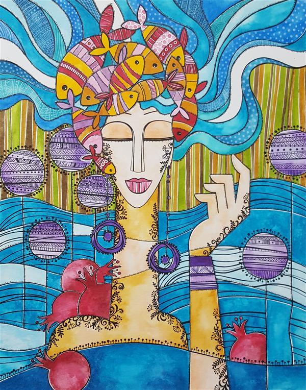 هنر نقاشی و گرافیک محفل نقاشی و گرافیک هانیه ملکی اکولین و راپید روی مقوا 40×50  #یلدا