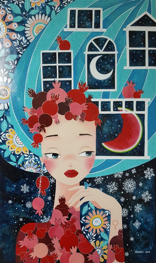 هنر نقاشی و گرافیک محفل نقاشی و گرافیک هانیه ملکی اکرولیک روی بوم  موضوع تصویرسازی: #یلدا 60×100