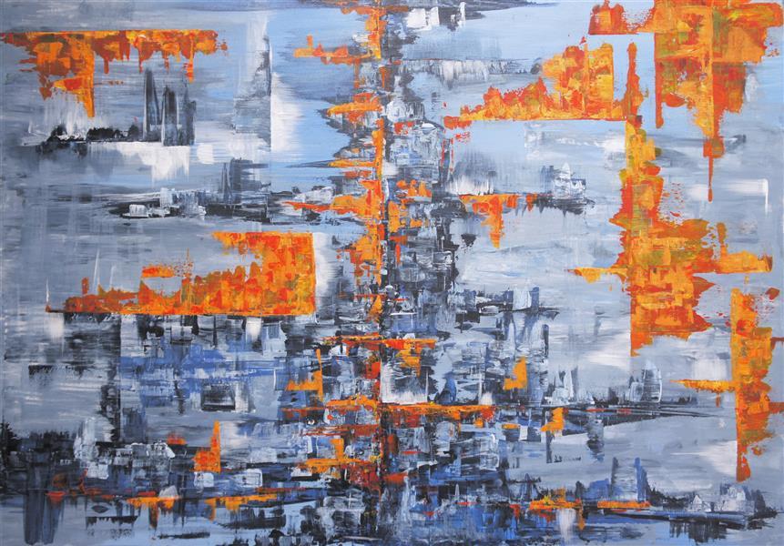 هنر نقاشی و گرافیک محفل نقاشی و گرافیک نوید خرمدل آتش در زمستان - ابعاد: 70*100 اکرلیک روی بوم