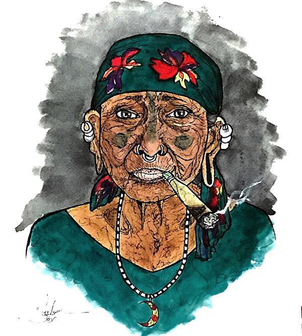 هنر نقاشی و گرافیک محفل نقاشی و گرافیک سوگند برهون #راپید_گرافی یک زن سرخ پوست  ابعاد ٣٥x٤٠