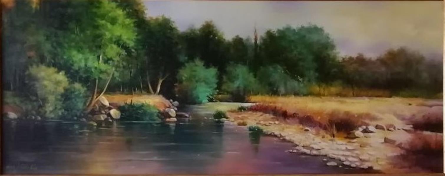 هنر نقاشی و گرافیک محفل نقاشی و گرافیک Mona loghmani تکنیک رنگ روغن ،ابعاد ٤٠*١٠٠،موضوع طبیعت