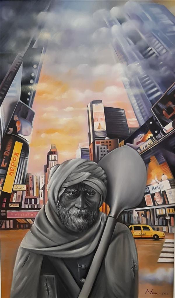 هنر نقاشی و گرافیک محفل نقاشی و گرافیک Mona loghmani تکنیک رنگ روغن،موضوع نقاشی مفهمومی، ابعاد۴۰×۱۰۰