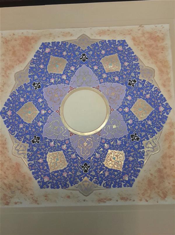 هنر نقاشی و گرافیک محفل نقاشی و گرافیک مریم بابایی #تذهیب با طلای اصل #سایز پاسپارتو شده ۶۴ در ۶۴ سانتیمتر