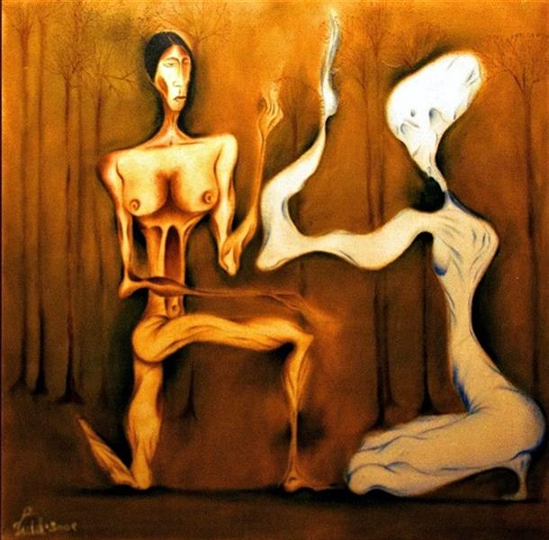 هنر نقاشی و گرافیک محفل نقاشی و گرافیک seyed mehdi kamyab sharifi Adam and Eve . oil on canvas . 100x100 cm