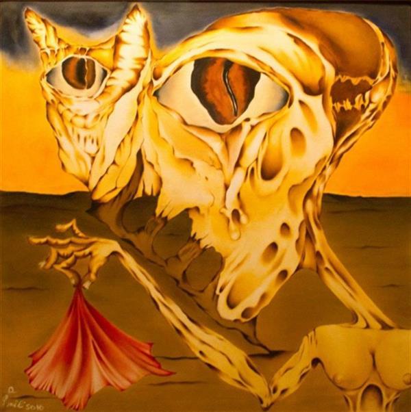 هنر نقاشی و گرافیک محفل نقاشی و گرافیک seyed mehdi kamyab sharifi last time medusa cried. oil on canvas. 100x100 cm