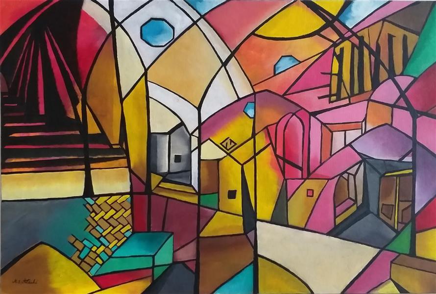 هنر نقاشی و گرافیک محفل نقاشی و گرافیک مریم سادات آتشی #اکرلیک #طرح شخصی #مدرن #ابعاد ۴۰.۶۰ #یزد