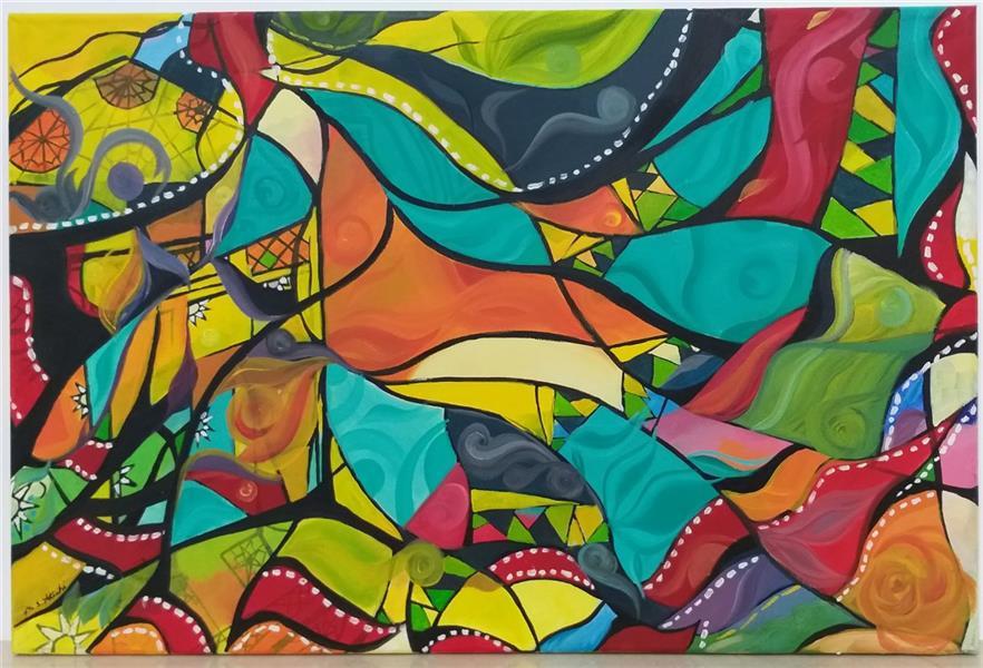 هنر نقاشی و گرافیک محفل نقاشی و گرافیک مریم سادات آتشی #مدرن #اکرلیک #طرح شخصی #ابعاد ۴۰.۶۰ سانتییمتر