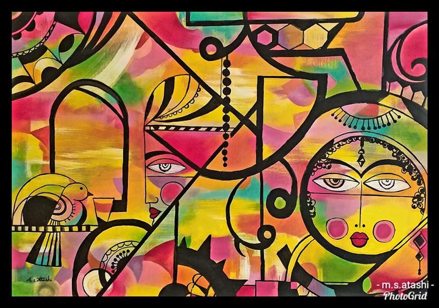 هنر نقاشی و گرافیک محفل نقاشی و گرافیک مریم سادات آتشی #اکرلیک و رنگ روغن #مدرن #نقاشی
