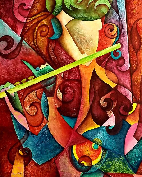 هنر نقاشی و گرافیک محفل نقاشی و گرافیک مریم سادات آتشی #اکرلیک #رنگ روغن #مدرن#ابعاد ۱۰۰.۸۰