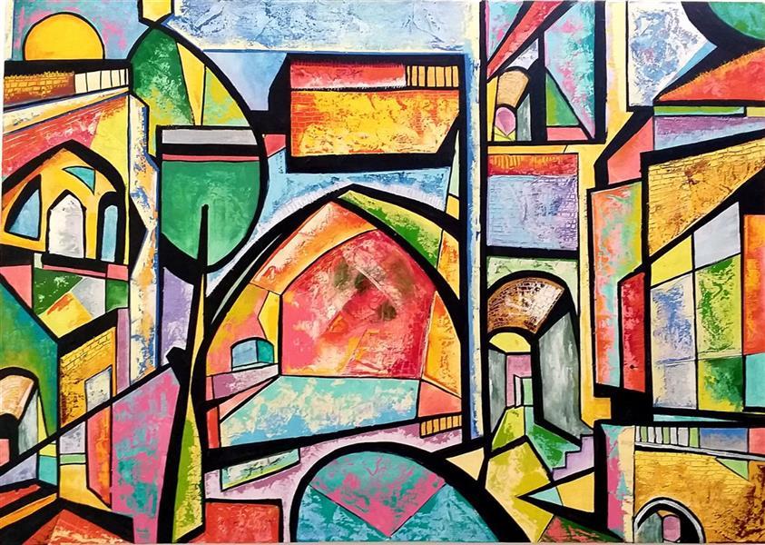 هنر نقاشی و گرافیک محفل نقاشی و گرافیک مریم سادات آتشی ترکیب مواد #بوم ۵۰.۷۰ #نقاشی_مدرن  #مدرن