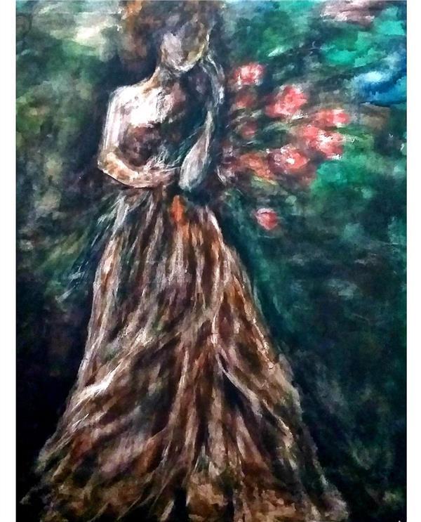 هنر نقاشی و گرافیک محفل نقاشی و گرافیک مریم سادات آتشی #اکرلیک #ابعاد ۶۰.۸۰ # سبک شخصی  فقط با استفاده از قلم مو پهن ۵ سانتی