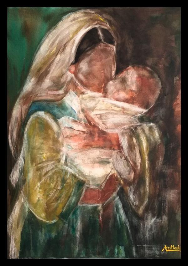 هنر نقاشی و گرافیک محفل نقاشی و گرافیک مریم سادات آتشی #نقاشی#اکرلیک به سبک شخصی خودم #بوم ۵۰.۷۰ سانتیمتر