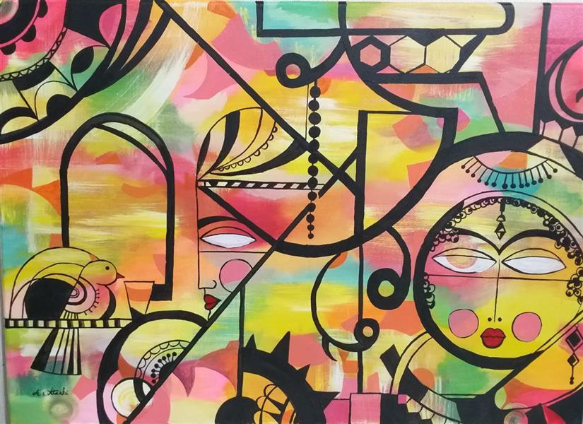 هنر نقاشی و گرافیک محفل نقاشی و گرافیک مریم سادات آتشی نقاشی#مدرن #اکرلیک #طرح باستانی ۷۰.۵۰سانتیمتر