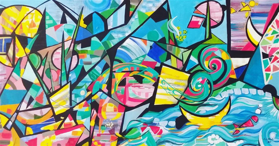 هنر نقاشی و گرافیک محفل نقاشی و گرافیک مریم سادات آتشی #اکرلیک #طرح شخصی #مدرن. ۱۰۰.۵۰ سانتیمتر