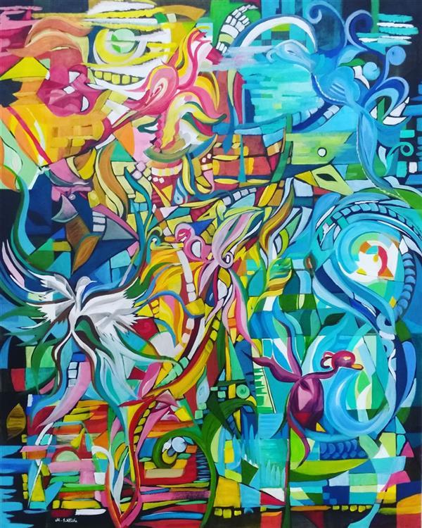هنر نقاشی و گرافیک محفل نقاشی و گرافیک مریم سادات آتشی #مدرن #اکرلیک #طرح شخصی #ابعاد  ۱۰۰.۸۰