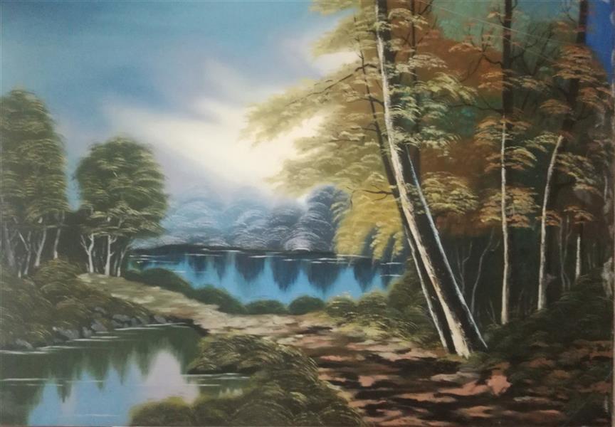 هنر نقاشی و گرافیک محفل نقاشی و گرافیک نگار رهنما دریاچه سرو . بوم و رنگ روغنی