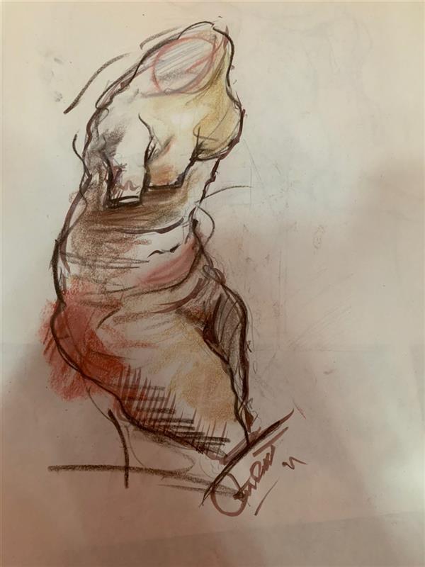 هنر نقاشی و گرافیک محفل نقاشی و گرافیک شمین اعتدال طراحی فیگور  آب مرکب و پاستل