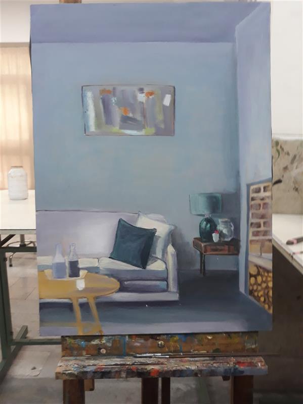 هنر نقاشی و گرافیک محفل نقاشی و گرافیک شمین اعتدال فضای داخلی رنگ و روغن روی بوم 50×70