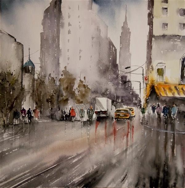 هنر نقاشی و گرافیک محفل نقاشی و گرافیک فرشته حق طلب خیابان بارانی #آبرنگ  30 در 30