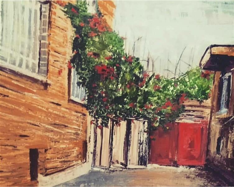 هنر نقاشی و گرافیک محفل نقاشی و گرافیک سارا برادران سبک:امپرسیونیسم -ابستره ابعاد:۱۰۰×۷۰ موضوع:فضای شهری(خانه ی مادر بزرگ)