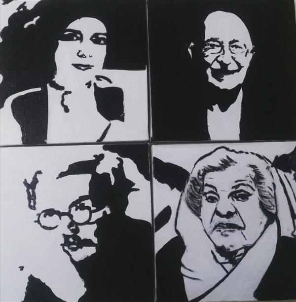 هنر نقاشی و گرافیک محفل نقاشی و گرافیک سارا برادران #نقاشان ایرانی  از سمت راست : #بیژن_صفاری #فریده_لاشایی #منیره_شاهرودی #حسین_بهزاد