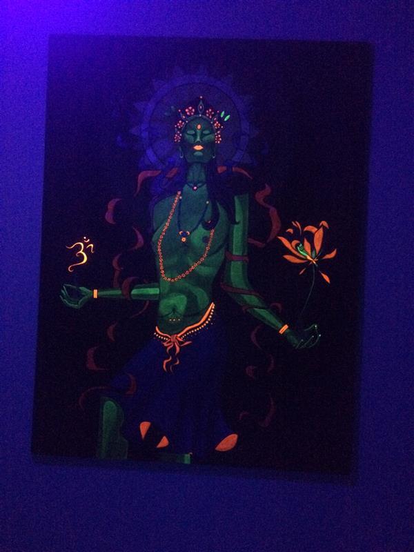 هنر نقاشی و گرافیک محفل نقاشی و گرافیک سمیه مزینانی تابلونقاشی ترکیبی از رنگ اکرلیک و فلورسنت زیر نور بلک لایت#سایز 60*80