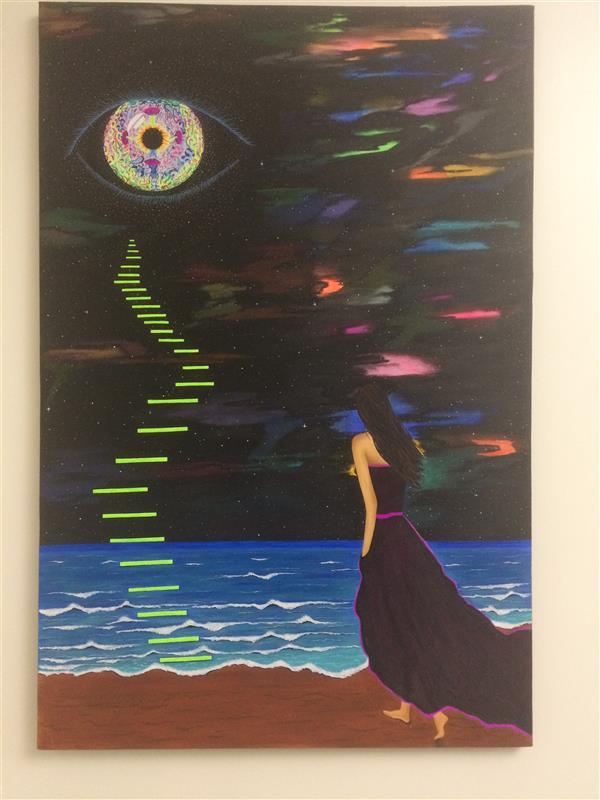 هنر نقاشی و گرافیک محفل نقاشی و گرافیک سمیه مزینانی تابلو نقاشی ترکیب رنگ اکرلیک و فلورسنت#ذهنی و تخیلی#ابعاد90*60