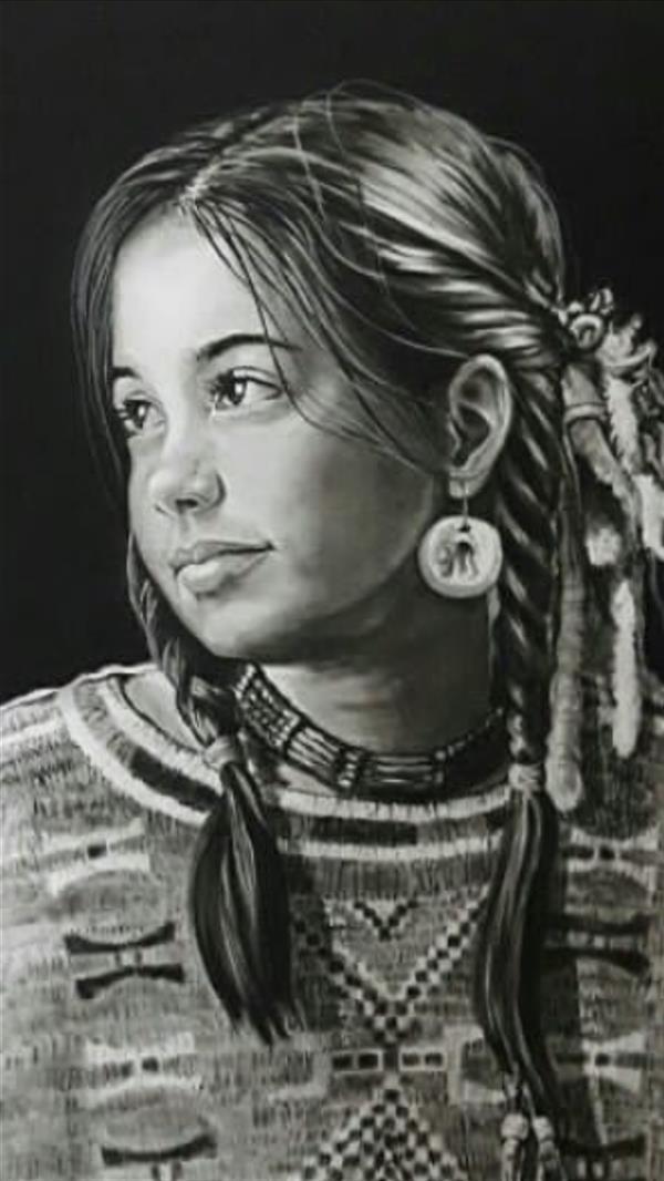 هنر نقاشی و گرافیک محفل نقاشی و گرافیک فریبرز بایزیدی نام اثر: دختر سرخپوست(دیتیلی از کار) پودر کنته روی کاغذ اشتنباخ سایز: 50×70 cm
