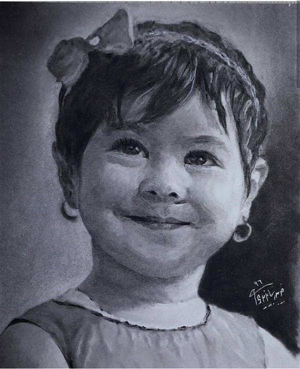 هنر نقاشی و گرافیک محفل نقاشی و گرافیک فریبرز بایزیدی چهره سفارشی، پودر کنته روی کاغذ اشتنباخ سایز : 20×17 cm
