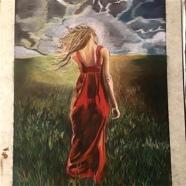 هنر نقاشی و گرافیک محفل نقاشی و گرافیک Suzan Najmi نام اثر: باد در موهایش اجرا: پلستل و کنته نام هنرمند: سوزان نجمی اینستاگرام nsuz.artemis