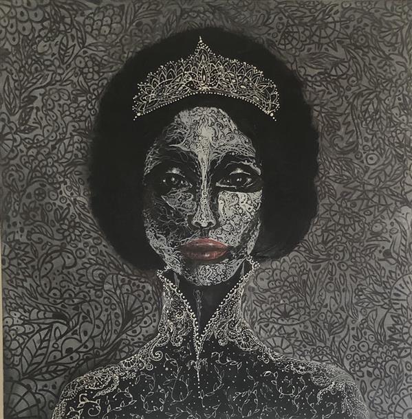 هنر نقاشی و گرافیک محفل نقاشی و گرافیک Laleh molla عنوان بوسه یک تغییر اکرولیک -پودر صدف-لاینر #lalehmola