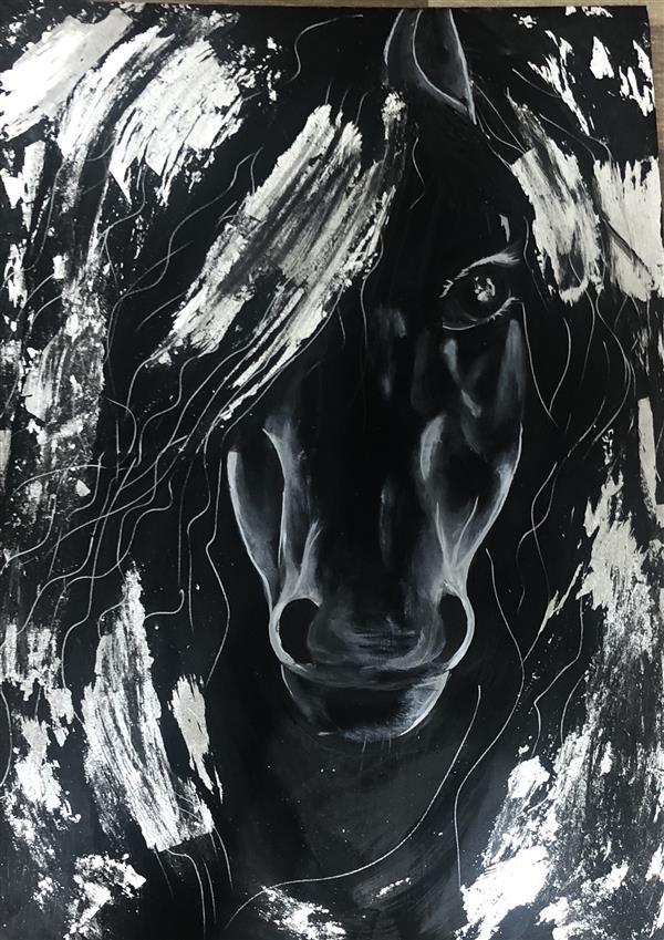 هنر نقاشی و گرافیک محفل نقاشی و گرافیک Laleh molla Laleh mola #لالهملا گاهی اسبی میشود با چشمان نافذ .گویی ما را به تاختی تکرارنشدنی در تکرارها میخواند