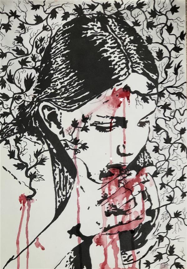 هنر نقاشی و گرافیک محفل نقاشی و گرافیک Laleh molla عنوان: تهوع فلسفی —————- تصویر سازی از واکنش در برابر توکسیکدنرون رادیکنز (یه نوع پیچک). این پیچک نماد قدرت خاص و منحصر به فرد و ممنوعه است . این گیاه به کسی که بر او پیچیده قدرت و بصیرت خاص میدهد اما با سم خود کاری میکند که دیگر کسی زبان او را نفهمد. او تمام انچه از گیاه راجع به جهان دریافته انقدر با خون خود بالا میاورد تا از توان بیافتد.اما یک افسانه است که زنی توانست در مقابل سم این پیچک مقاومت کند و صاحب همیشکی قدرت آن شود . اما نتوانست رازش را به کسی بگوید چون در مقابل پرسش های مردم فقط میتوانست بخندد. ——————— تکنیک راپیت و ابرنگ سبک سمبولیسم ۴۲*۳۰ ——————— لاله دی ماه ۹۸. ———————- #لاله ملا #lalehmola.   ایستاگرام artlalaart      #artlalaart