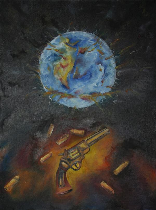 هنر نقاشی و گرافیک محفل نقاشی و گرافیک بختیاری نام: #آخرین_هفت_تیر سبک: #سورئال تکنیک : رنگ_روغن روی #بوم سایز 60 در 80