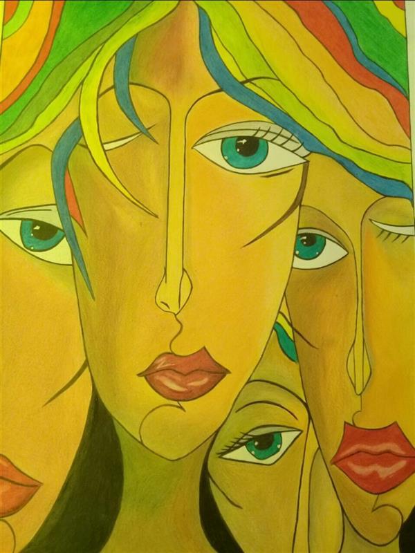 هنر نقاشی و گرافیک محفل نقاشی و گرافیک فریبا صفر هاشم آبادی #نقاشی مداد رنگی #کوبیسم #سایز۵۰×۷۰