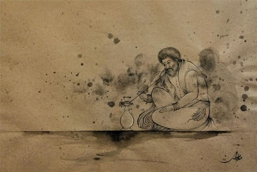 """هنر نقاشی و گرافیک محفل نقاشی و گرافیک صابر حلوانی برگرفته از شعر: از آه سوزناکم دود از جهان برآمد بی تو جهان چه باشد ، آتش زَنم جهان را...  #امیرخسرو ابعاد30×20 متریال""""مرکب"""" #negargari #miniatur #designing #drawsome #persian #persian_art #arty #artuniversity #anatomydrawing #abstractart"""