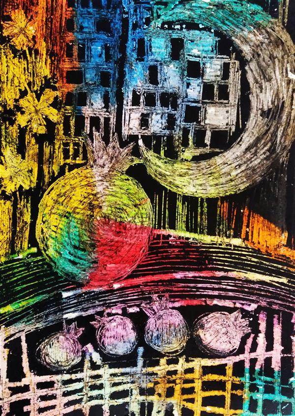 هنر نقاشی و گرافیک محفل نقاشی و گرافیک فاطمه مرادیان هره دشت #چاپ#اسکراچ برد#شب #یلدا